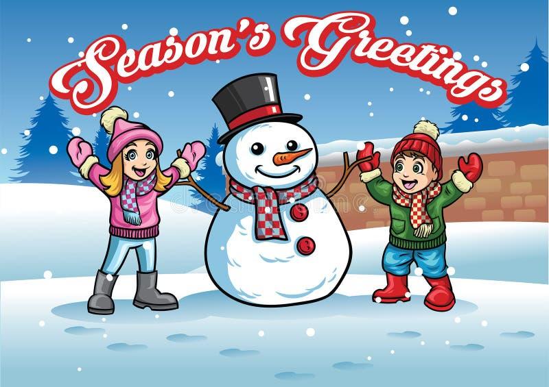 Jogos das crianças com boneco de neve ilustração stock