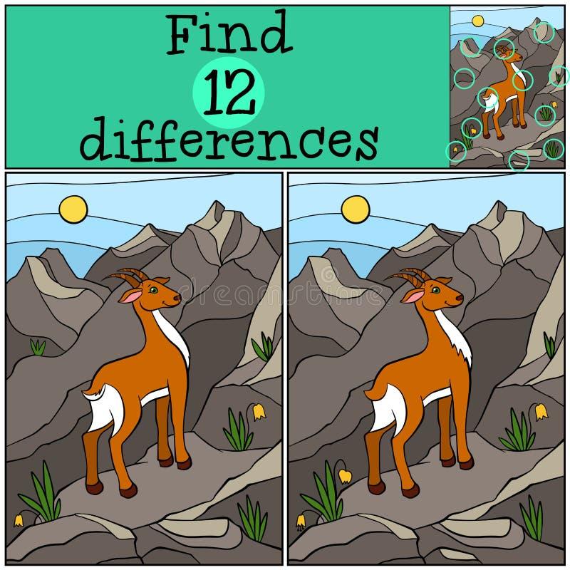 Jogos das crianças: Diferenças do achado Antílope pequeno bonito ilustração stock