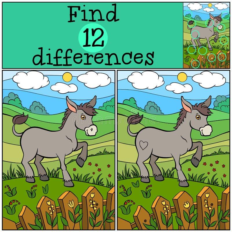 Jogos das crianças: Diferenças do achado Asno bonito ilustração royalty free