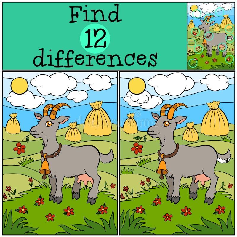 Jogos das crianças: Diferenças do achado Cabra bonito ilustração stock