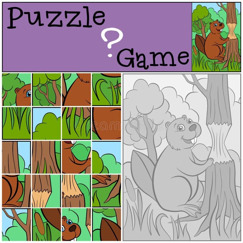 Jogos das crianças: Enigma Castor bonito pequeno ilustração do vetor