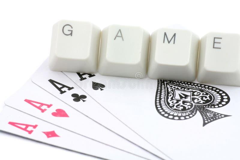Jogos de cartão em linha fotografia de stock