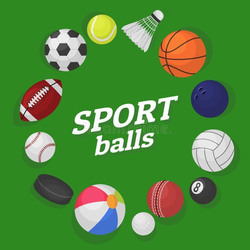 Jogos de esfera Desenhos animados coloridos da bandeira do bilhar do basquetebol do basebol do h?quei do futebol das bolas da col ilustração do vetor