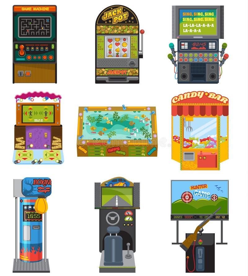 Jogos de jogo da arcada do vetor da máquina de jogo que caçam o encaixotamento e a dança da pesca onde jogo gamesome do jogador o ilustração royalty free
