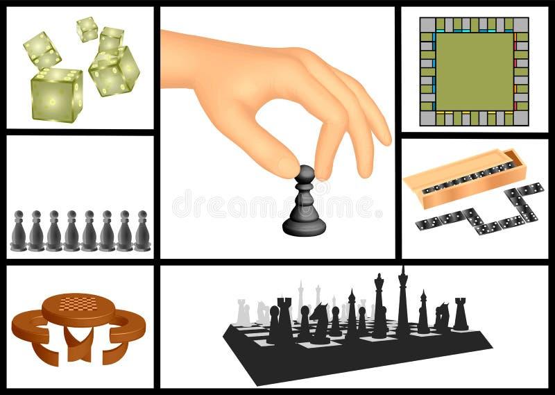 Jogos de mesa ajustados ilustração royalty free