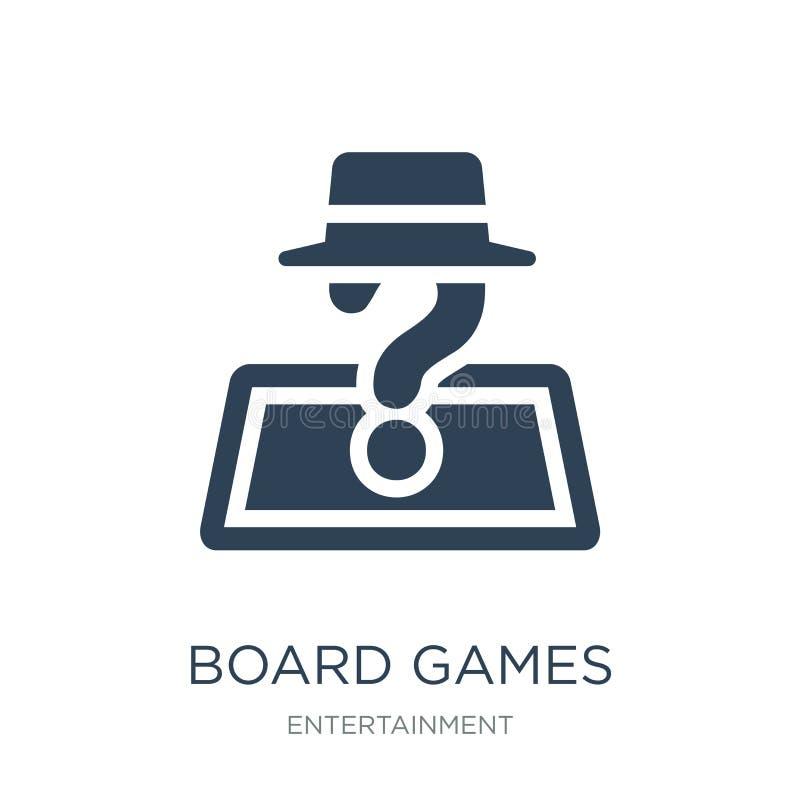 jogos de mesa com ícone dos papéis no estilo na moda do projeto jogos de mesa com o ícone dos papéis isolado no fundo branco jogo ilustração stock