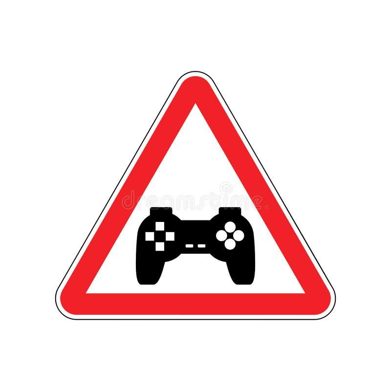Jogos de vídeo da atenção Perigos do sinal de estrada vermelho Gamepad cuidado ilustração royalty free