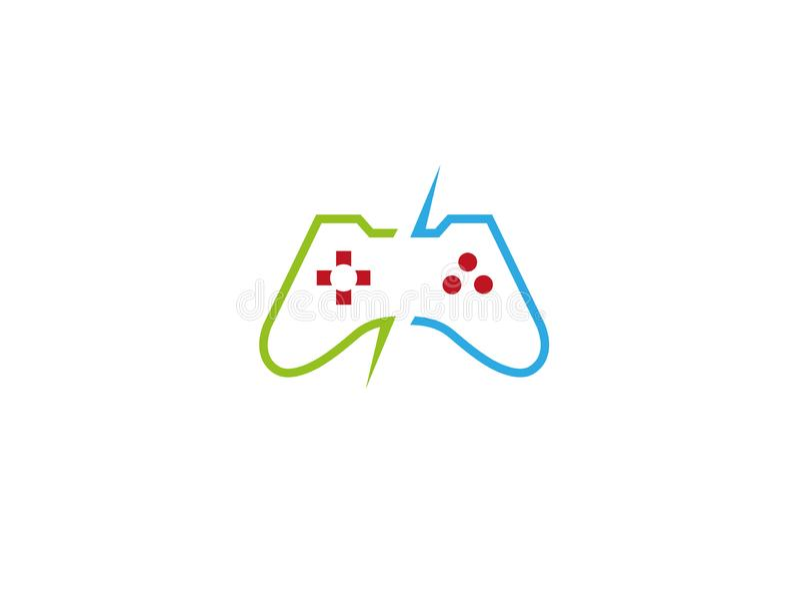 Jogos de vídeo do console um dispositivo do controlador para o logotipo ilustração royalty free