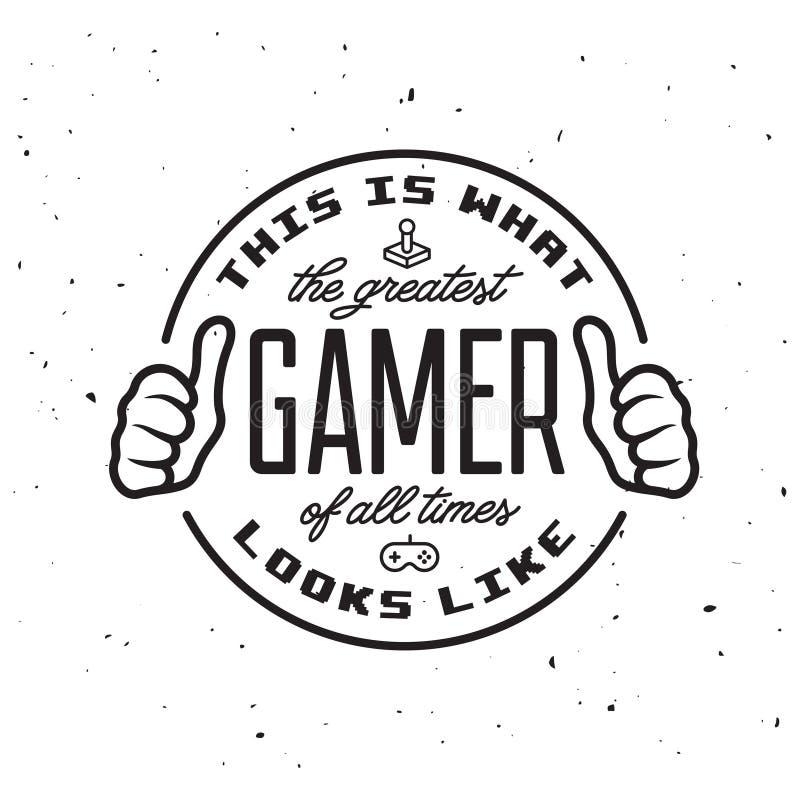 Jogos de vídeo retros projeto relativo do t-shirt O grande texto do gamer Ilustração do vintage do vetor ilustração royalty free