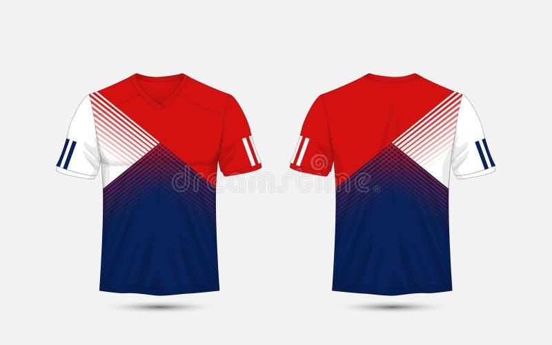 Jogos do futebol do esporte do teste padrão da listra azul, branca e azul, jérsei, molde do projeto do t-shirt ilustração stock