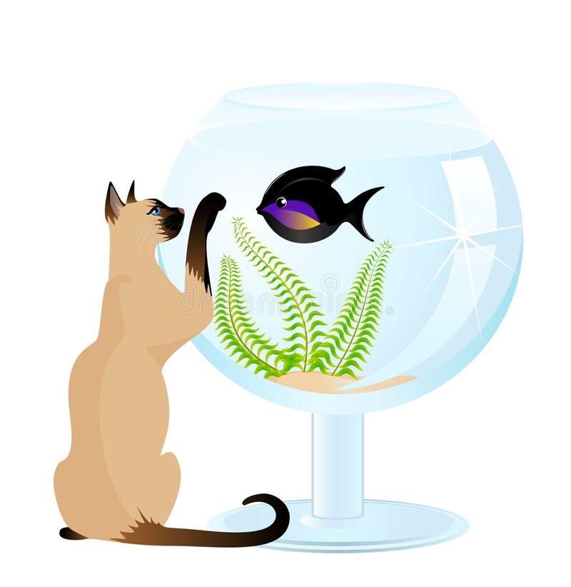 Jogos do gato com um peixe pequeno ilustração stock