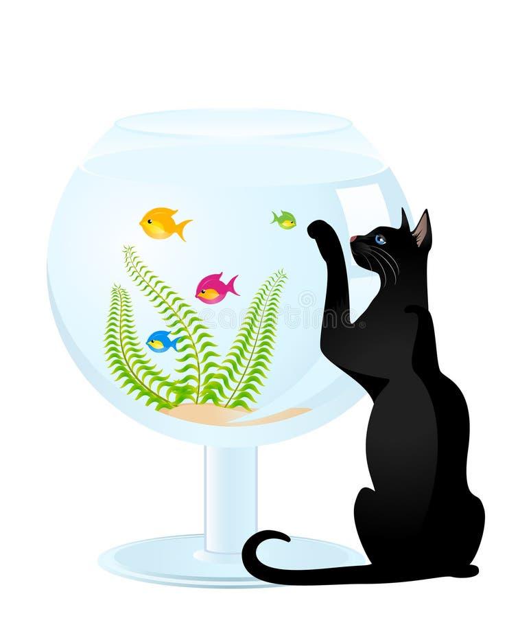 Jogos do gato com um peixe pequeno ilustração do vetor