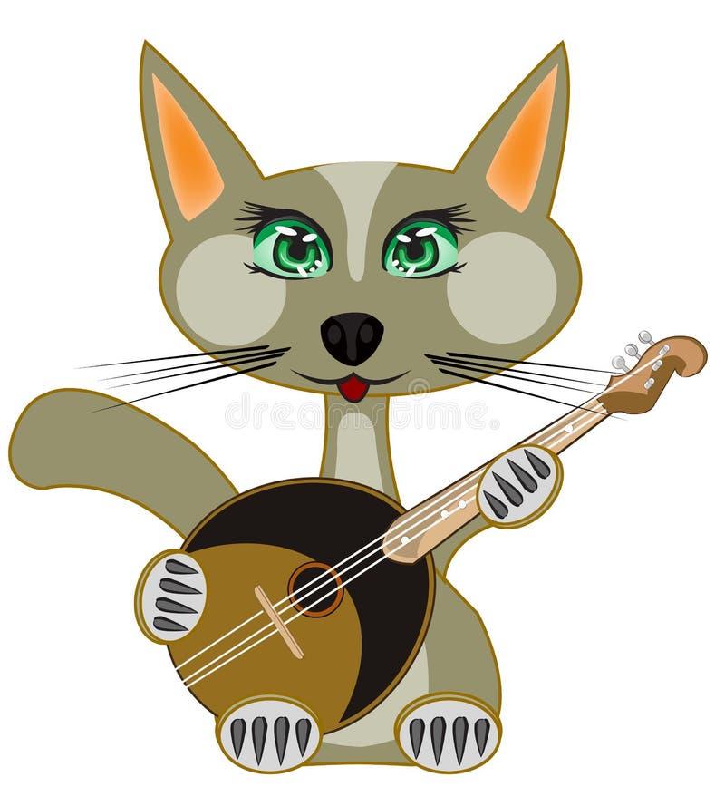 Jogos do gato no instrumento de música ilustração stock