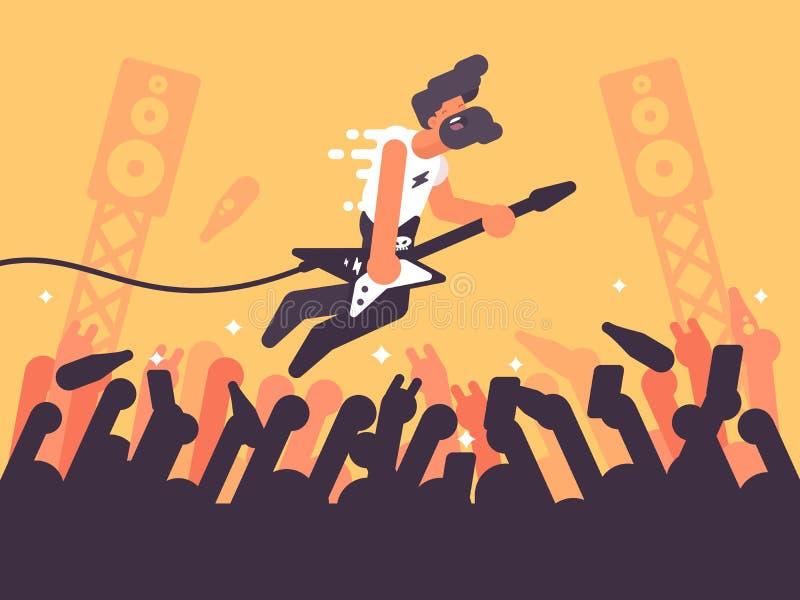 Jogos do guitarrista da rocha no concerto ilustração stock