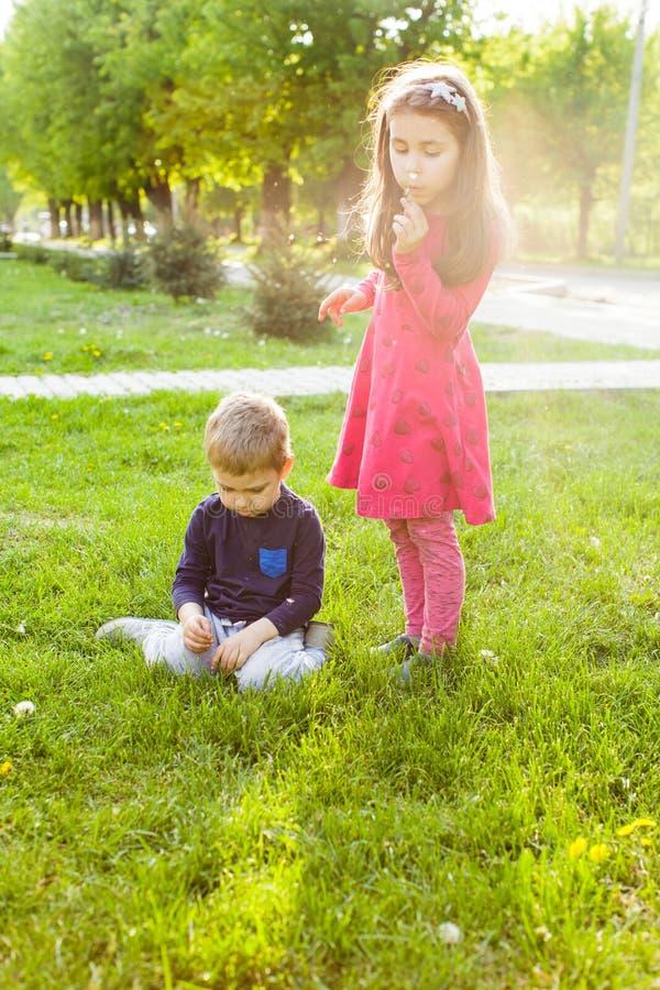 Jogos do irmão e da irmã no parque, imagens de stock
