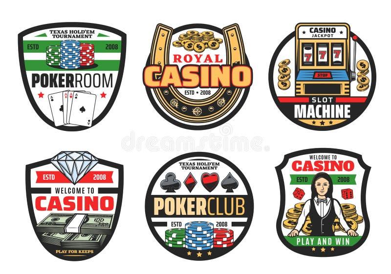 Jogos do jogo, cartões do pôquer do casino e dados ilustração stock