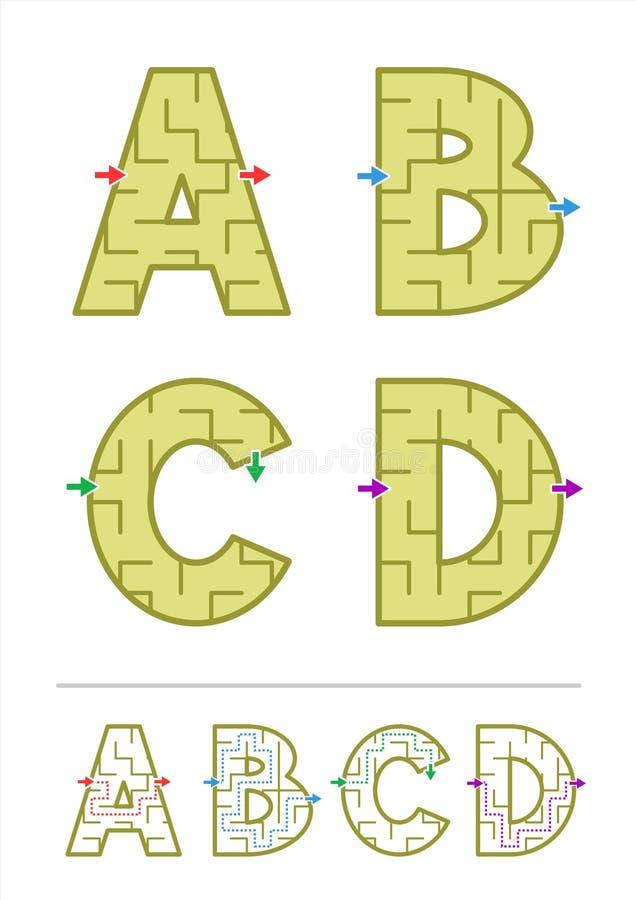 Jogos A do labirinto do alfabeto, B, C, D ilustração do vetor