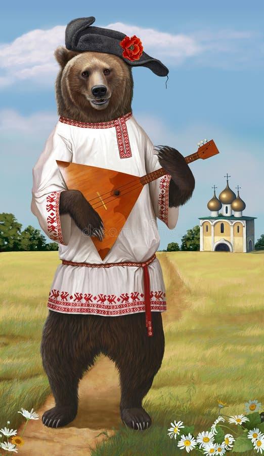 Jogos do urso do russo na balalaica ilustração do vetor