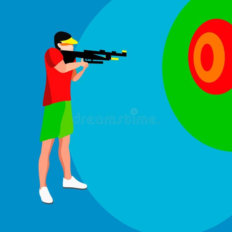 Jogos do verão do jogador do tiro atleta isométrico do atirador 3D Competição internacional ostentando do tiro do campeonato Espo ilustração do vetor