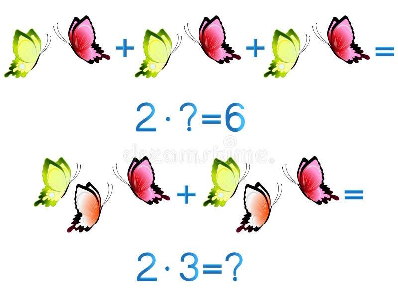 Jogos educacionais para crianças, ação da multiplicação, exemplo com borboletas ilustração royalty free