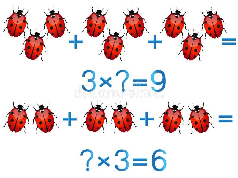 Jogos educacionais para crianças, ação da multiplicação, exemplo com joaninha ilustração royalty free