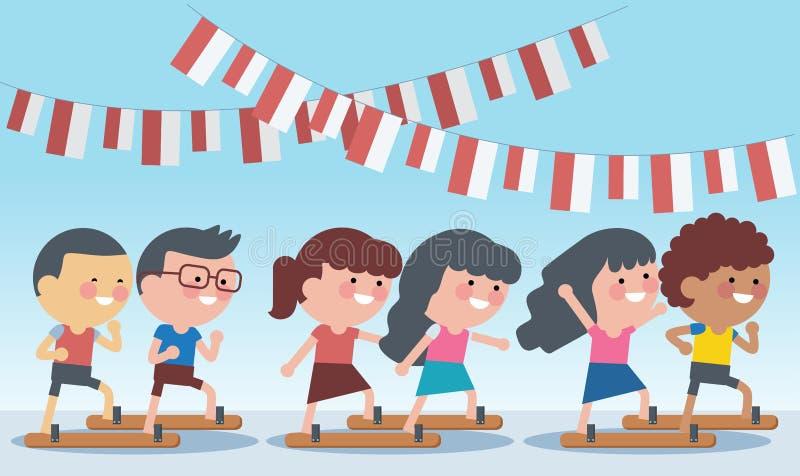 Jogos especiais tradicionais de Indonésia durante o Dia da Independência As obstruções dos deslizadores que competem a raça Estil ilustração stock