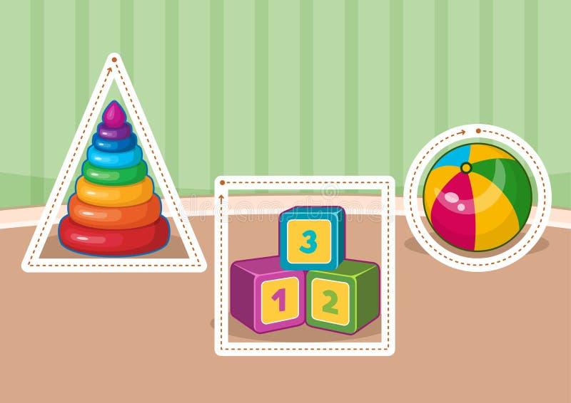 Jogos imprimíveis educacionais para o desenvolvimento de habilidades de motor finas nas crianças ilustração royalty free