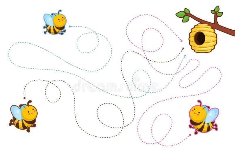 Jogos imprimíveis educacionais para o desenvolvimento de habilidades de motor finas nas crianças ilustração stock