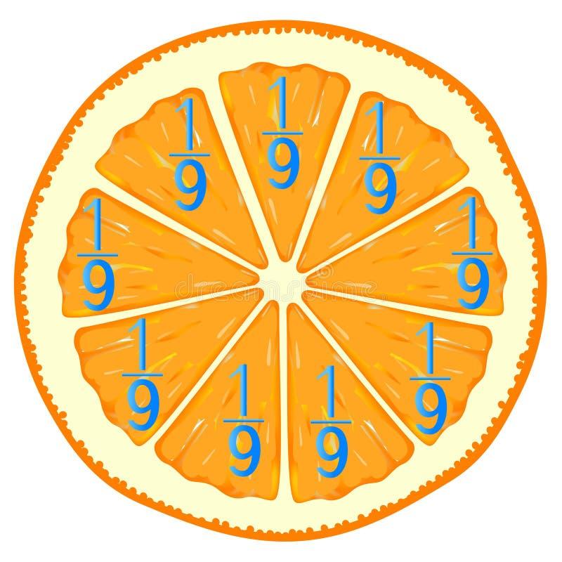 Jogos matemáticos para crianças Estude os números das frações, exemplo com laranja ilustração royalty free