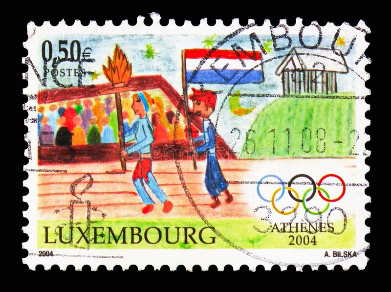 Jogos Olímpicos do verão - Atenas, serie do esporte, cerca de 2004 imagem de stock
