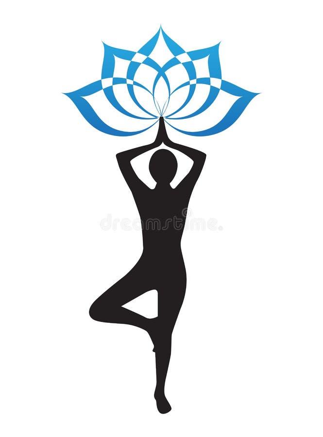 Jogowie i lotosowy kwiat ilustracja wektor