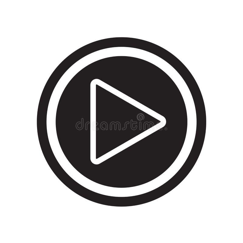 Jogue o vetor do ícone do botão isolado no fundo branco, butto do jogo ilustração stock