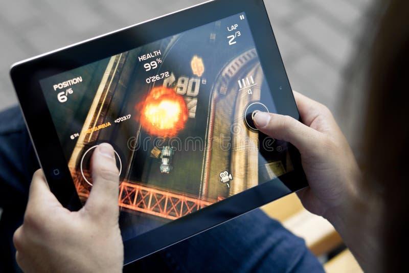Jogue a reunião da morte em Apple Ipad2 imagem de stock