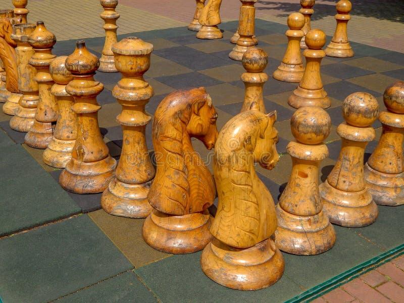 Jogue xadrez com um enorme jogo de xadrez de madeira foto de stock royalty free