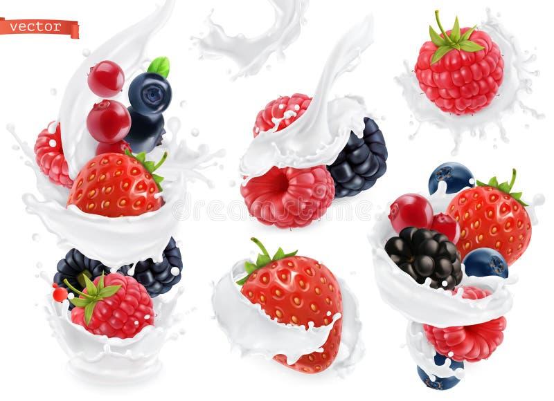 Jogurt alla frutta della foresta La bacca mista ed il latte spruzza vettore 3d illustrazione vettoriale