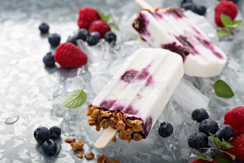 Jogurt-, Beeren- und Granolafrühstückseis am stiel lizenzfreie stockfotos