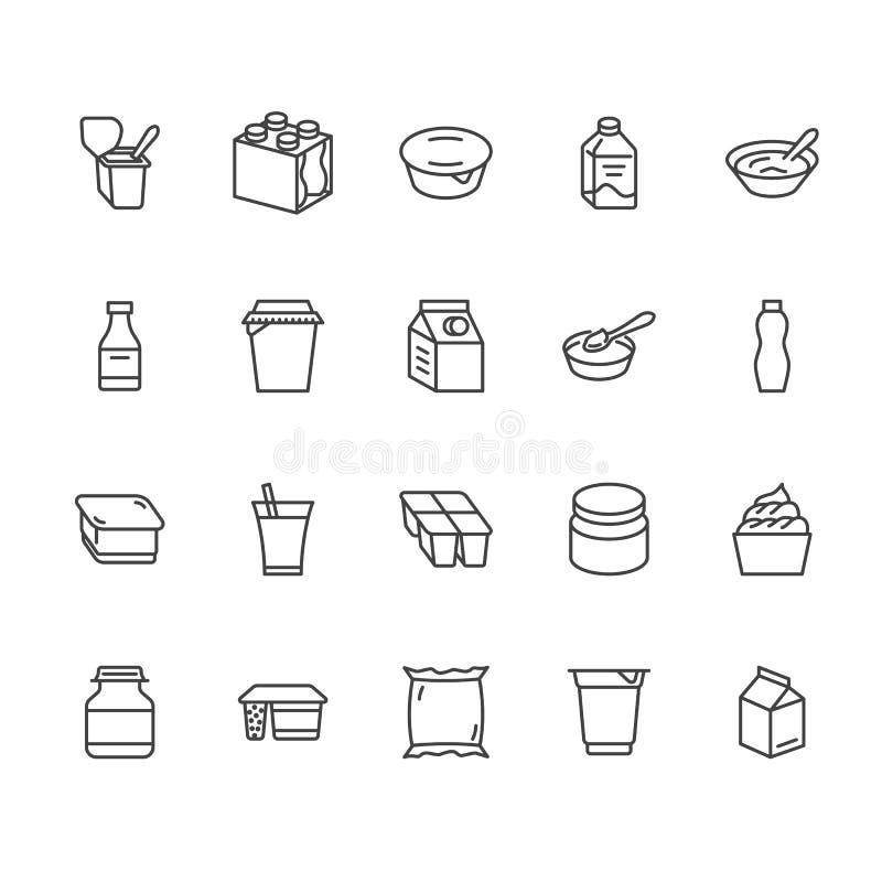Jogurt, der flache Linie Ikonen verpackt Milchprodukte - Milchflasche, Creme, Kefir, Käseillustrationen Dünne Zeichen für Lebensm stock abbildung
