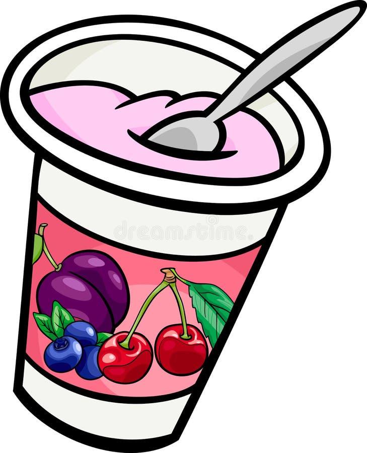 Jogurt klamerki sztuki kreskówki ilustracja royalty ilustracja