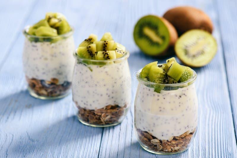 Jogurt mit chia Samen, muesli und Kiwi lizenzfreies stockbild