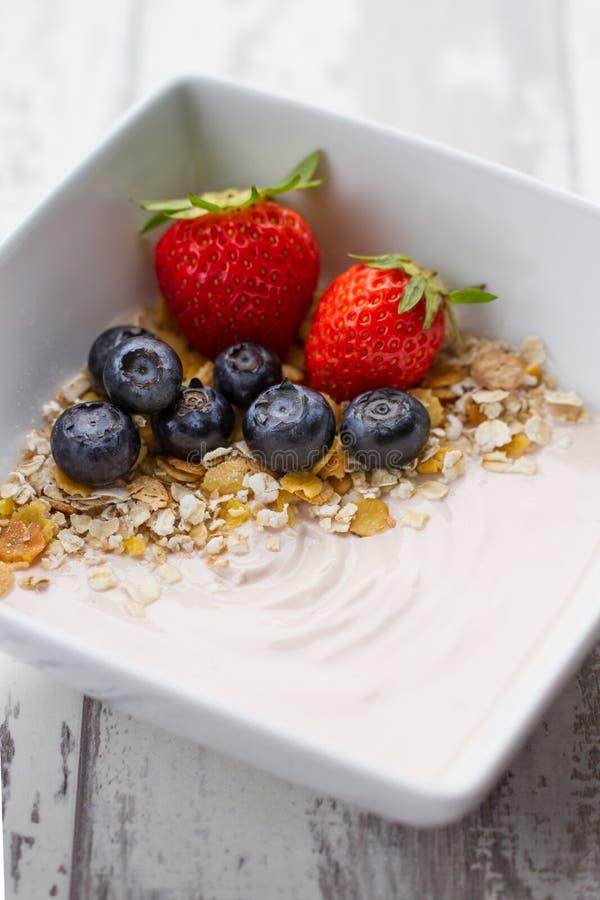 Jogurt mit Getreide und frischen Früchten lizenzfreie stockfotografie