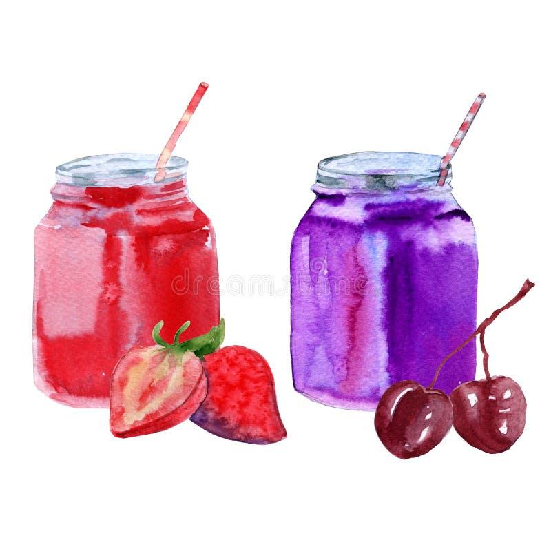 Jogurt von der Kirsche und von der Erdbeere in einem Glas mit einem Stroh Getrennt auf weißem Hintergrund lizenzfreie abbildung
