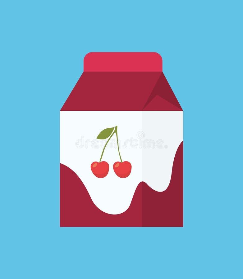 Jogurt w kartonu pakunku kreskówki Odosobnionej ikonie royalty ilustracja