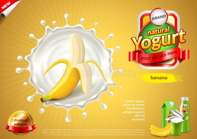 Jogurtanzeigen Banane im Milchspritzen-Vektorhintergrund lizenzfreie abbildung