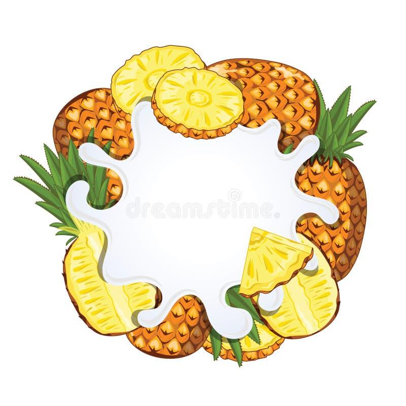 Jogurtspritzen lokalisiert mit Ananas, Vektor lizenzfreie abbildung
