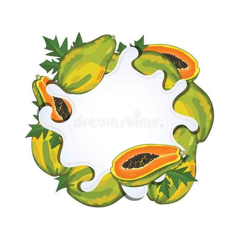 Jogurtspritzen lokalisiert mit Papaya, Vektor stock abbildung