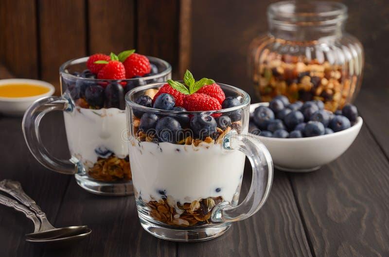 Jogurtu parfait z granola i świeżymi jagodami, zdrowy śniadaniowy pojęcie fotografia royalty free