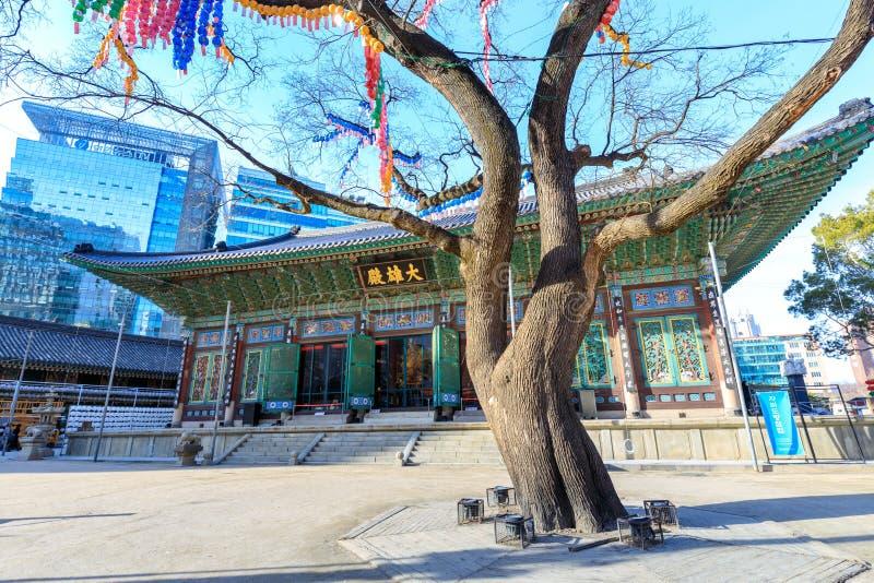 Jogyesa świątynia W przygotowaniu do urodziny Buddha, lokalizować w Gu, Seul zdjęcie royalty free