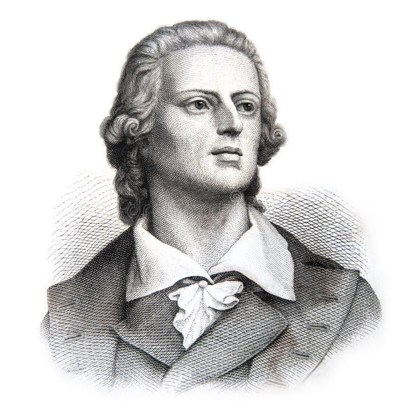 Johann Friedrich von Schiller 1759-1805, poeta y escritor alemán Viejo retrato grabado stock de ilustración