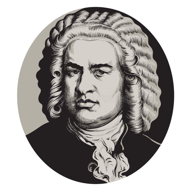 Johann Sebastian Bach ilustração stock