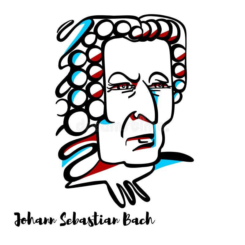 Johann Sebastian Bach Portrait royaltyfri illustrationer